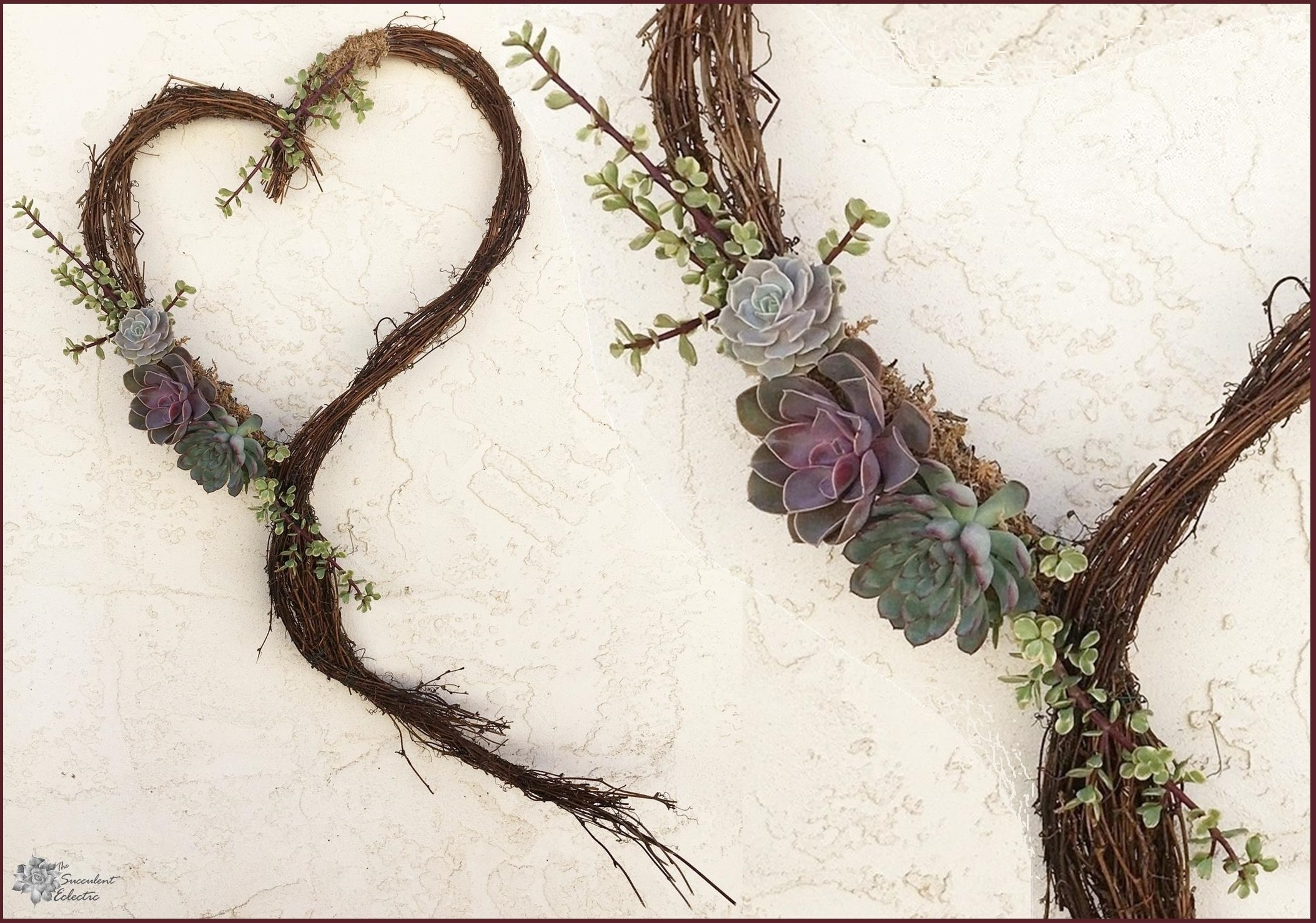 DIY Grapevine Heart Wreath with Live Succulents!