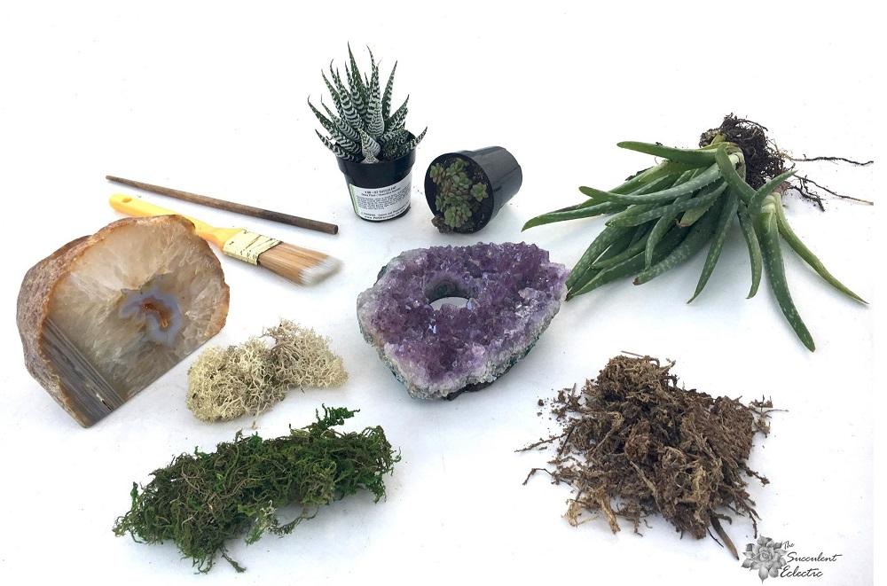diy crystal succulent planter supplies