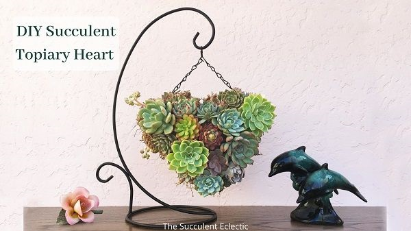 diy succulent topiary heart