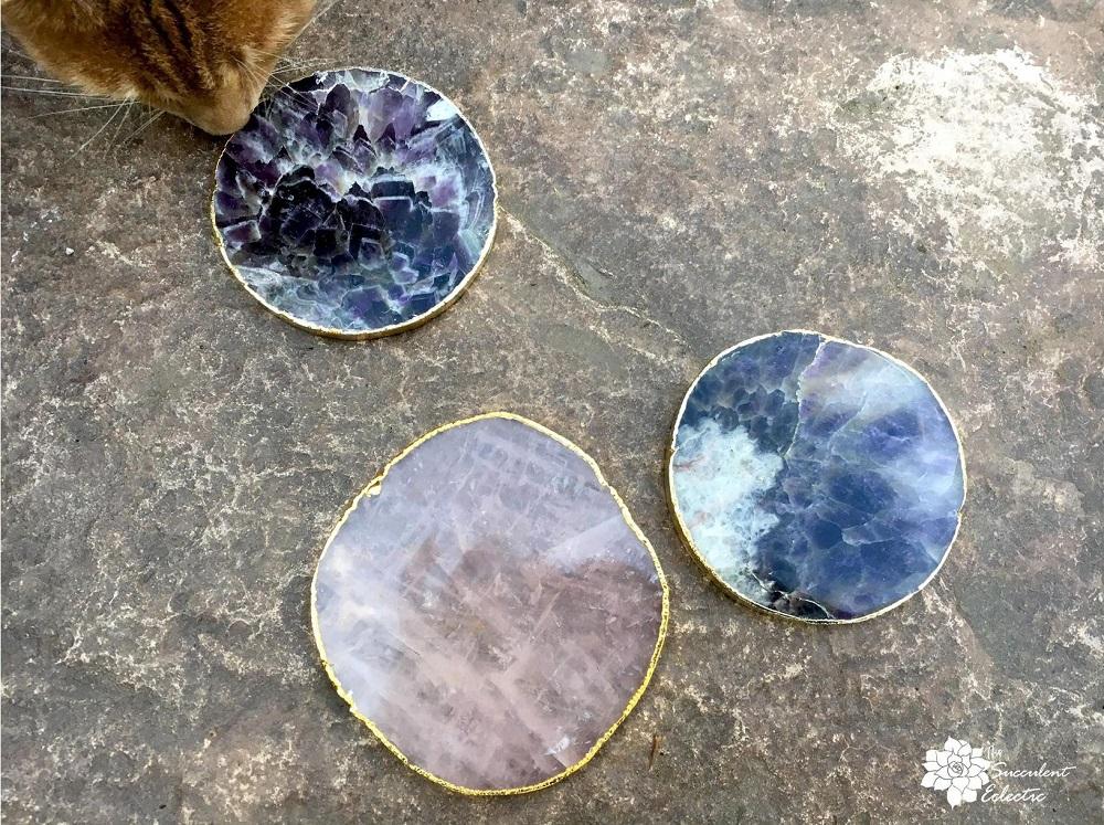 amethyst and rose quartz geode slices