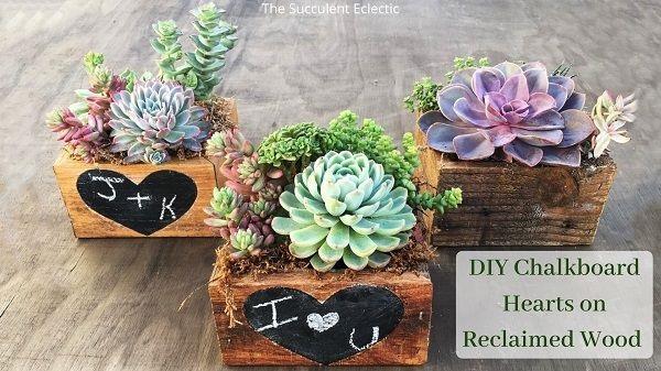 DIY Chalkboard Hearts on reclaimed wood planters