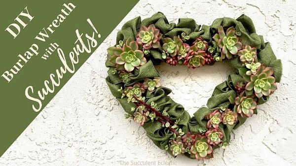 diy burlap wreath with succulents