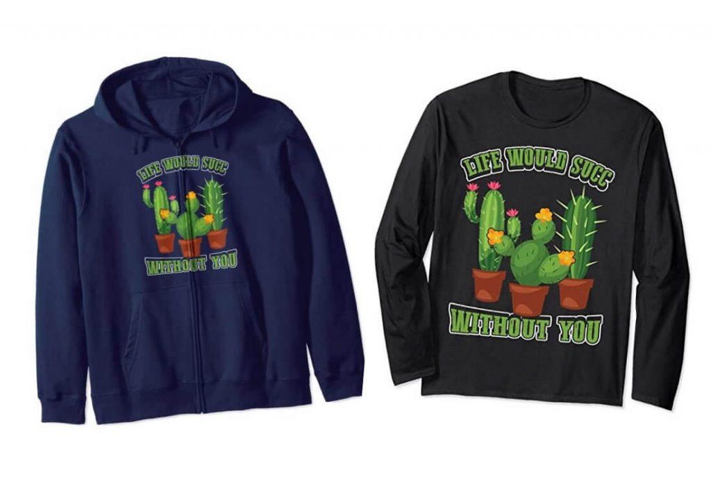 Succulent Lovers Sweatshirt and long-sleeved Tee