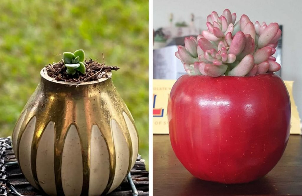 upcycled planters door knob and faux apple